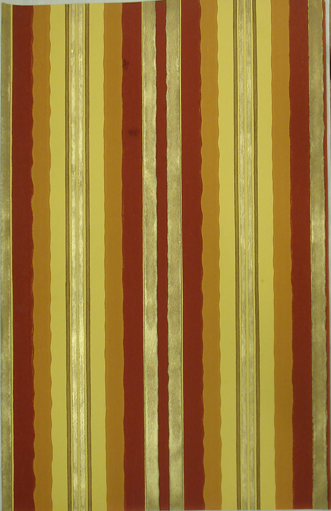 Undulating and straight stripes. Printed in gold, rust-color, ochre, brown and amber.