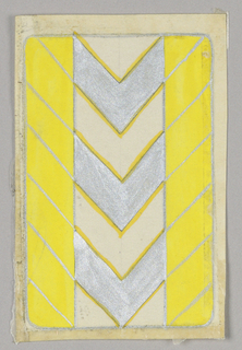 Matching playing cards with vertical side bands, silver chevrons at center. Yellow and silver.
