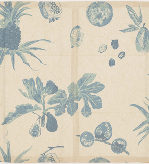 Pineapple and pomegranate with other fruit printed in shades of blue on pale green background simulating Japanese paper.