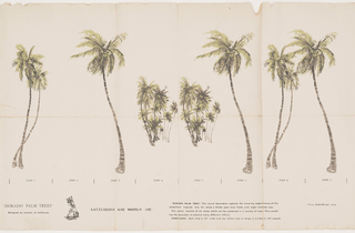 Miniature of a wall mural, containing seven palm trees with two groups of trees in center. Printed in green and brown on off-white ground.