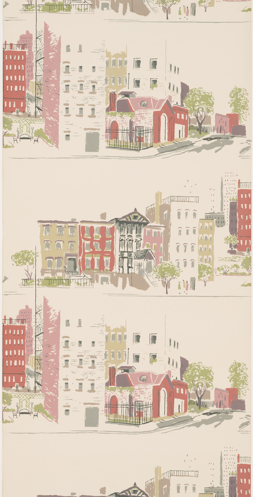 Two alternating street scenes. Buildings printed in red and olive green on off-white ground. This paper contains no selvedges.