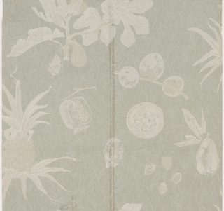 Pineapple and pomegranate with other fruit. Printed in light gray on blue-gray background simulating Japanese paper.