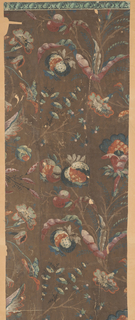 a) long narrow strip of wallpaper: on chocolate brown ground, large, repeating pattern: flowers, fruits, inspired by painted Indian cotton motifs, in greenish-blue, oranges, reds; b) Border, attached at top, architectonic pattern green on black.