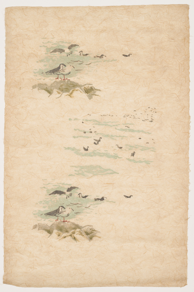A pair of seagulls standing on a rock at waters edge.  In alternating scene, group of birds swims. Printed in blue, taupe, black and orange on tan Japanese paper.