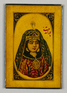 Rectangular card with black back. Front yellow, with bust of richly dressed woman in oval, painted in red, green and gold; spandrels have floral motifs.