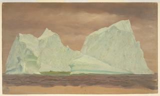 Drawing, Icebergs Under Cloudy Skies