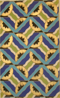 Repeating motif of pairs of triangles placed together forming rectangular shapes. Each triangle contains a half-circle. Band of three wavy lines links the two triangles. Printed in bright blue, dark blue, gold, black, pale grey and olive green on a grey ground.