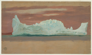 Long iceberg shaped like a fish. High bottom and top margin showing the same ground color as 1917-4-305-A.