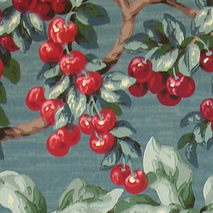 Basket filled with green fruit hangs from a branch, other branches are full of red cherries and more green fruit. Printed in green, brown, black and red on a mottled blue ground.