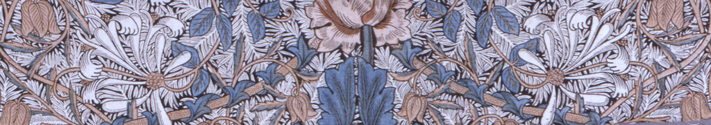 Large-scale symmetrical pattern of massive poppy-like flowers with curving stems to form ogival framing, in white and blue with deep blue outline on a deep blue ground. Wide plain selvedges.