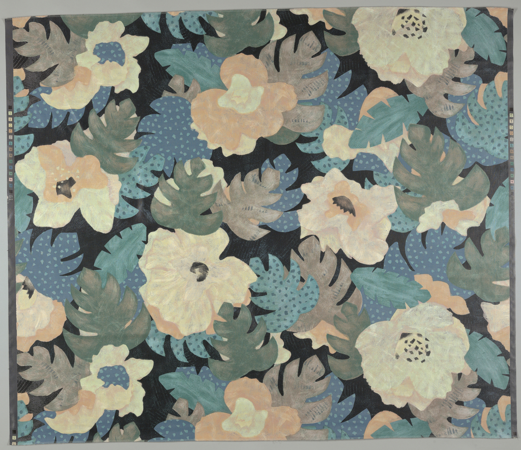 Stylized flowers and leaves in muted colors of yellow, orange, blues and greens.