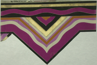Triangular shaped wallpaper border. Printed in magenta, grey, black, pumpkin and gold.