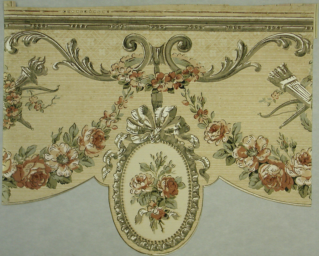 Pendent floral bouquet in beaded oval frame. Floral garlands suspended from acanthus scrolls. Wreath, torch and quiver of arrows in space above garland. Band of beading across top edge. Printed in taupe, rust-color, green and black on tan strie ground.