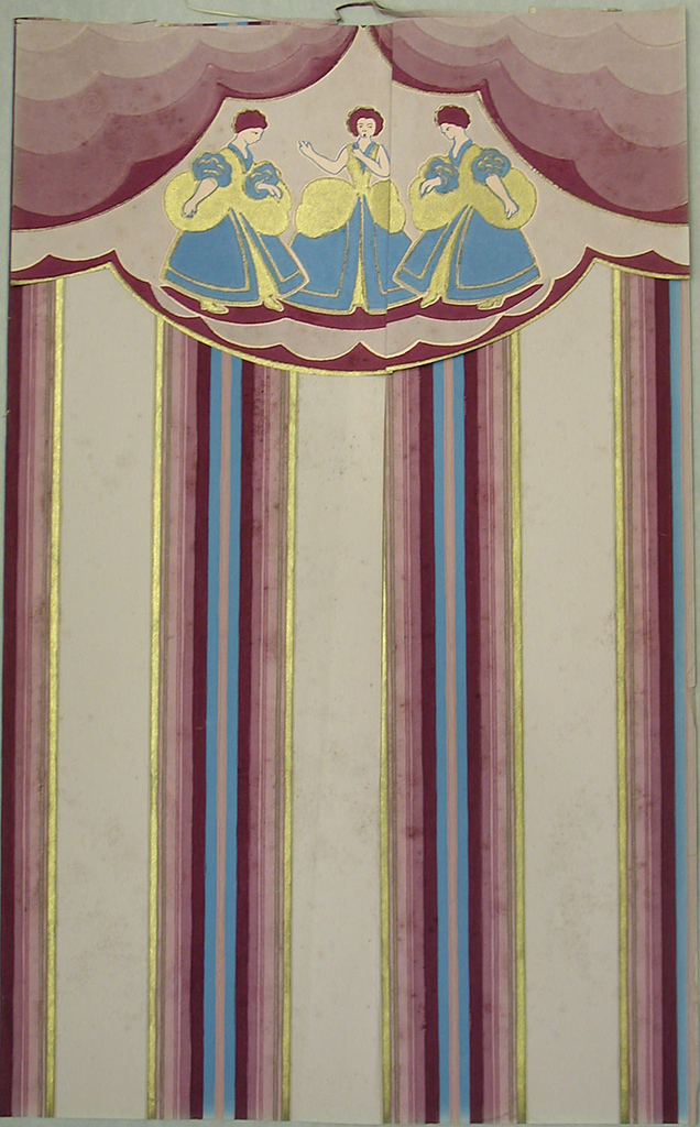 Stripe with attached scalloped border. Bands of multi-color stripes alternating with pink ground color.  Printed in purple, blue and medium purple on pink ground.  Attached border: scalloped decoration surrounds three female figures dressed in 18th century costume.