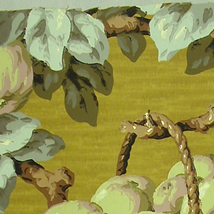 Basket filled with green fruit hangs from a branch. Other branches covered with red cherries and more green fruit. Printed in green, taupe, pale blue, red, brown and black on mottled orange ground.