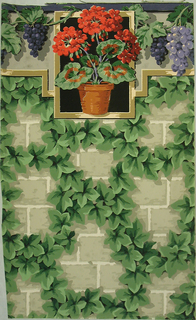 Large-scale ivy forms a lattice on brick wall; grey wall, green ivy, attached cut-out border depicting red geranium in a terra cotta pot along with purple grapes.