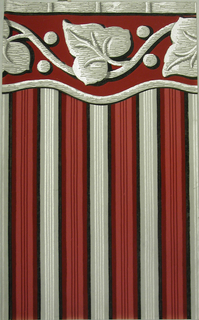 Stripe with attached border, four stripes across, thin silver stripes, thick stripe of graduated color; black, dark red, dark pink, attached border - bottom is cut-out wavy band with large stylized ivy and berries, dark red, grey black and silver.