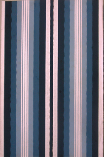 Undulating and straight stripes. Printed in silver, dark blue, medium blue and light blue.