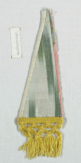 "Ikat-like warp stripes in two shades of pink, magenta, yellow and green. Component ""e"" has applied yellow silk fringe. Components ""d,g"" have ikat-like warp stripes in green and blue."