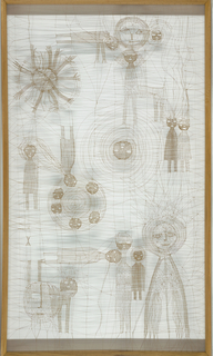 Thread construction with human figures of various sizes, heads within a circle, heads on a circle, and four-legged creatures.