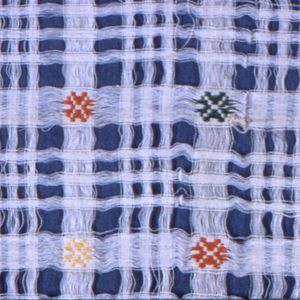 Textile woven with spaced warps and wefts showing geometric motif in pink, purple, green, yellow, and orange on off-white ground. Spaces make plaid pattern.