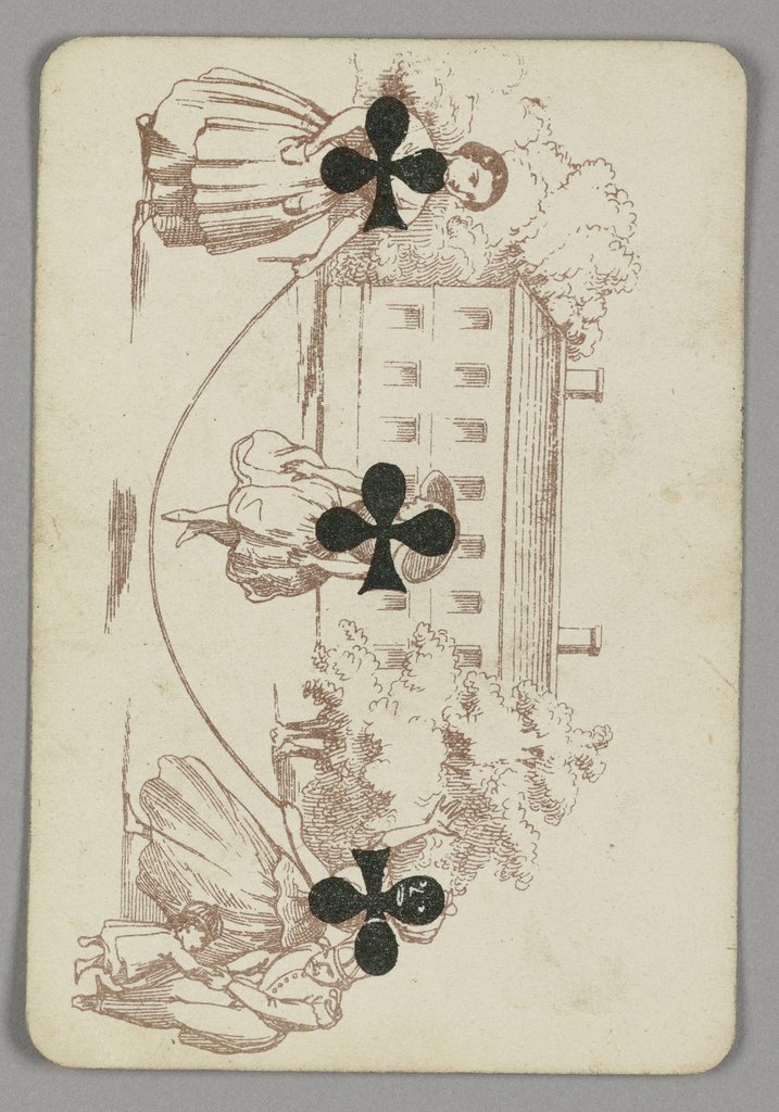 Three of Clubs playing card from a pack of transformation playing cards. Vertically, figural scene depicted in one tone. A girl jumps rope, which is twirled by two older women at either side, each of the three figures marked with a black club. At bottom, the woman's face is made black by the club, her facial features highlighted in white. A house and trees in the background. At lower left, a man holds the hand of a small child.