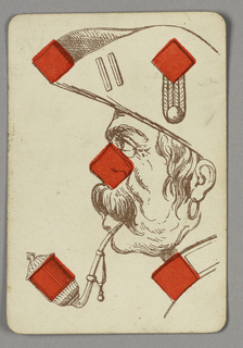 Five of Diamonds playing card from a pack of transformation playing cards. Portrait of a pirate in profile, facing left. He has a large moustache, smokes an elaborate pipe and wears a hoop earring and hat. Red diamonds integrated into the design.