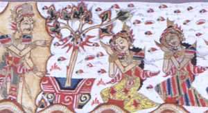 Painted and glazed cloth strip depicting scenes from a Hindu religious epic. Shows rows of standing and kneeling figures against stylized cloud bands on undyed cotton ground. Flowering sprays and simple landscape conventions at intervals. Freely drawn in black ink; colored with varitey of bright opaque water colors.