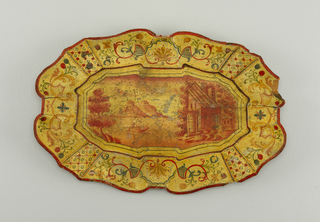 Flat bottom; slightly raised, concave marly; shaped contour; cream field, decorated in red and blue with geometric and floral motifs.