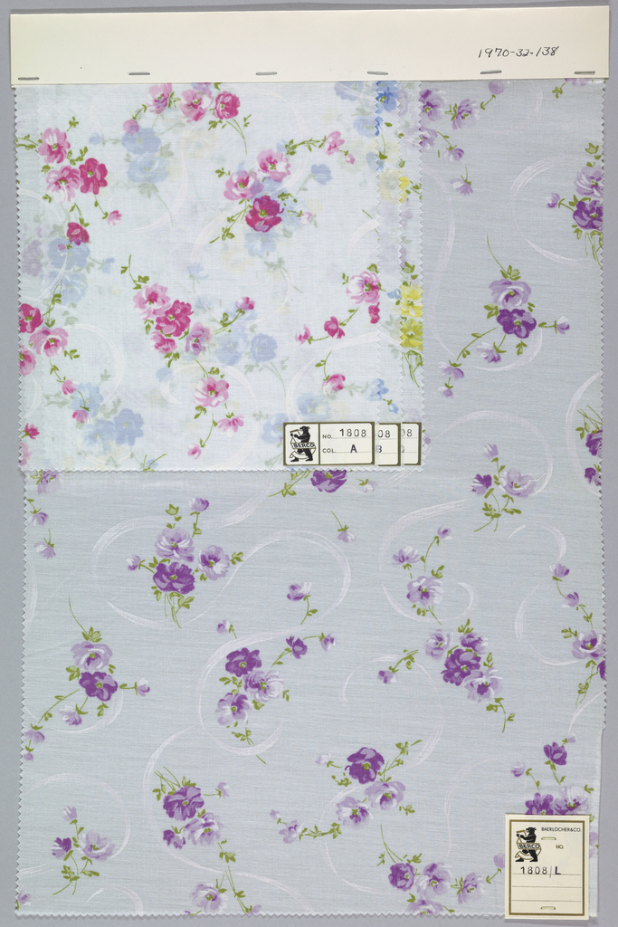 Four samples patterned by flowering sprigs and clusters of flowers. Five colors per sample. Bound at top by cardboard.
