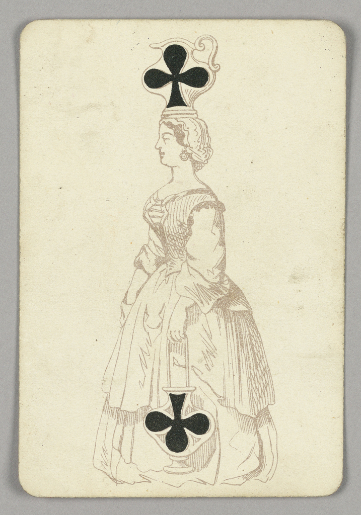 Two of Clubs playing card from a pack of transformation playing cards. A female figure depicted in outline, shown in profile, facing left. She balances a large pitcher on her head, which is decorated with a black club. She holds another vase in her left hand, adorned with an upside down club.