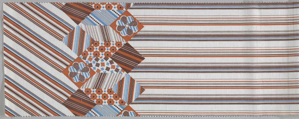 Border print. Horizontal stripes printed weft-wise. Border pattern is patchworl squares. Final pattern is diagonal lines. a: red,blue and yellow on white. b: yellow and two blues on white. c:blue and two browns on white.