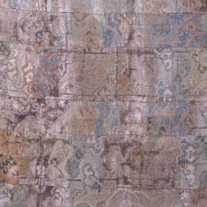 Large rectangular panel of squares and rectangles of patterned silks, in shades of gray-blue, white and pink. Incomplete patterns of dragons, flowers, cloud bands. Gray silk lining.