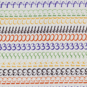 Sample of printed rayon with horizontal stripes made of numbers in purple, green, yellow, black, and orange on an off-white background. Stapled into the paper headed of Celanese Creative Fabrics.