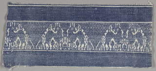 Supplementary blue weft floating alternately face to face to form a design of trianges and affronted horses.