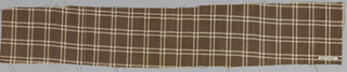 Two pieces of brown cotton with a windowpane plaid in white.