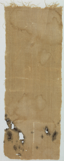 Strip of brown linen mummy wrapping with warp fringe below series of ridges formed by bunched wefts.