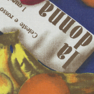 Assorted fruit and italian labels in bright colors on strong blue background.