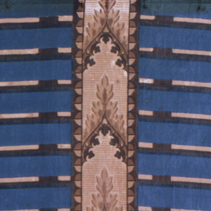 Glazed chintz printed in dark brown, buff and blue green. Design shows horizontal bars of black and buff on a blue ground which has faded from green. Green color produced by printing blue over yellow. Perpendicular stripe of buff in the form of a Gothic arch.