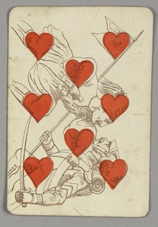 Eight of Hearts playing card from a pack of transformation playing cards. Vertically, a figural scene shown in outline, red hearts integrated into various parts of the scene. Two soldiers engaged in a swordfight, each in different costume. The figure at top stabs the man at bottom with a dagger; the injured man holds a long pole bearing a flag with a heart and crescent moon.