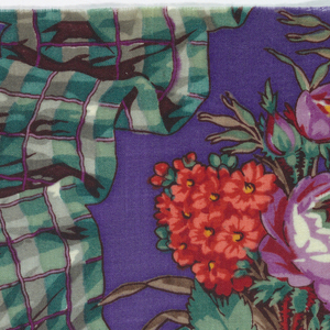 One of seven pages from a printed fabric sample book has a bright purple ground with horizontal garlands of plaid ribbon and bunches of pink roses and small orange flowers.