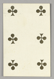 """Six of Clubs from Set of """"Jeu Imperial–Second Empire–Napoleon III"""" Playing Cards."""