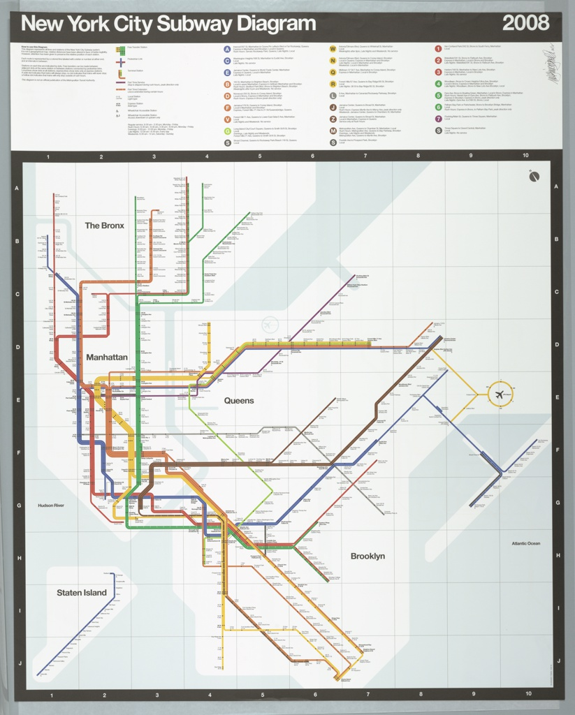 Subway Map For New York City.Map New York City Subway Map 2008 Objects Collection Of Cooper