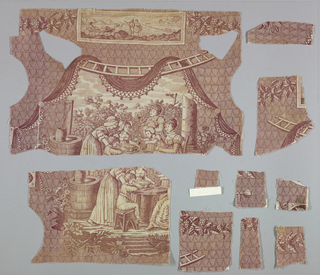 "Fragment of two pieces shows women and children seated at a table. Above is a rectangular panel showing a harbor scene of a man rowing a small boat with a box inscribed with the initials ""DM."" A couple stands together in conversation on the shore."