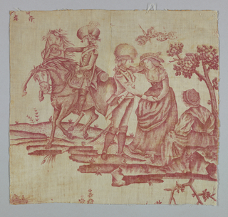 Fragment shows a couple embracing while a seated female figure looks on. In the background is a soldier mounted on a horse. He uses one hand to restrain a rearing horse. In red on white.