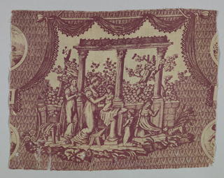 Engraved print in purple on ivory cotton ground, of a mother playing with her children on a terrace.
