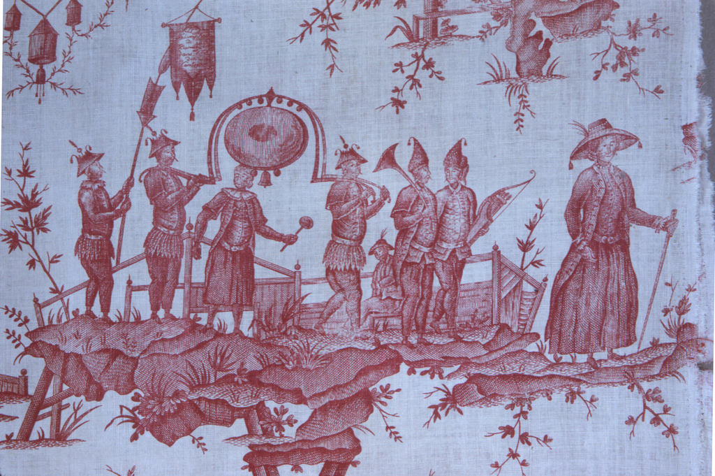 """Two panels of cotton, plain cloth, printed in red, copper plate. Chinoiserie design inspired by an opera by Gretry """"panurge dans l'Isle des Lanternes,"""" design horizontally arranged shows performers on a stage, processions, etc., personages in fantastic dress."""
