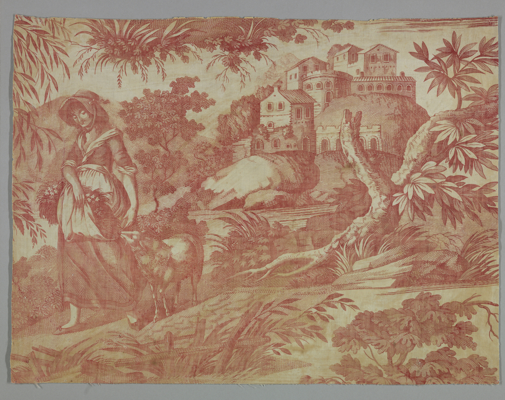 Fragment shows a pastoral scene of a girl with a lamb, trees and a castle on a hill. In red on white ground.