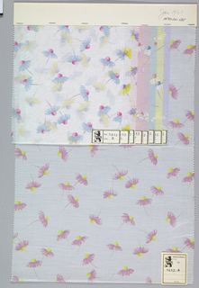 Nine samples patterned by single daisies scattered over the ground. Three colors per sample. Bound at top by cardboard.