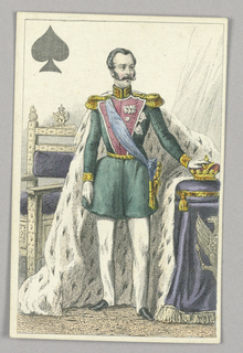 """Alexander II, Tsar of Russia, King of Spades from Set of """"Jeu Imperial–Second Empire–Napoleon III"""" Playing Cards."""